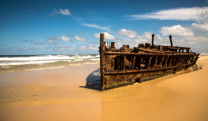 the famous shipwreck on fraser island in Australia