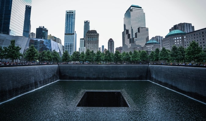 The somber 9/11 Memorial at ground zero in New York City