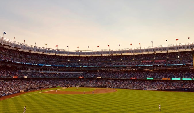 The New York Yankees playing baseball at Yankee Stadium in New York City