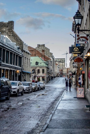 The historic buildings and cobblestone streets of Old Montreal, Canada