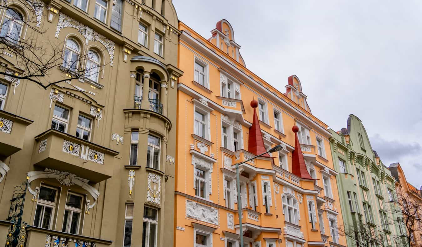 The colorful old homes of Vinohrady, Prague
