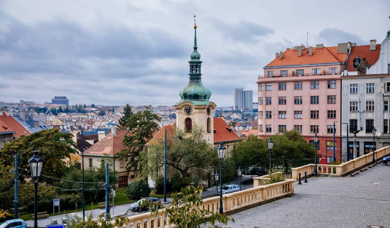 The hip neighborhood of Vrsovice, prague during the day
