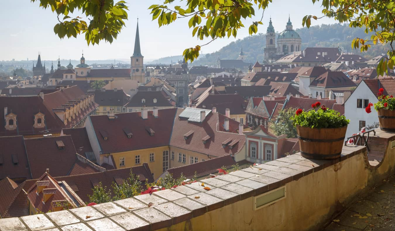 A quiet balcony overlooking Mala Strana in Prague, Czechia