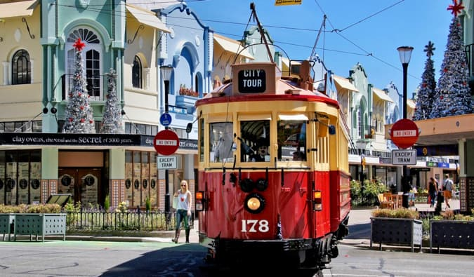 A streetcar in downtown Christchurch, New Zealand in the summer