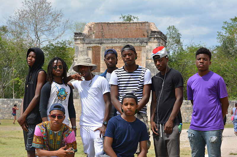 Students visiting Chichen Itza in Mexico